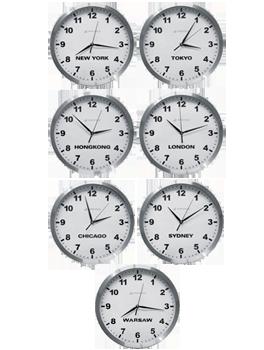 Pakiet - zegary ścienne z nazwami miast